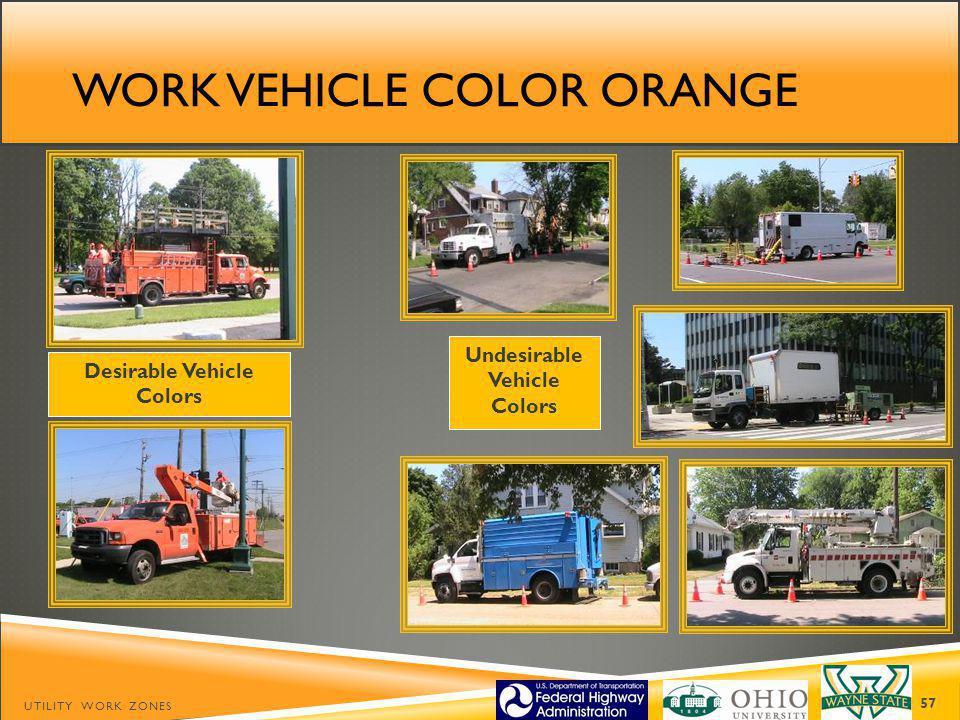 Work vehicle color orange