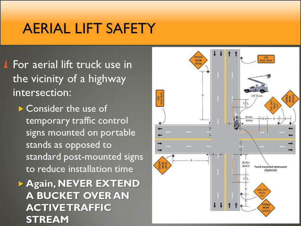 Aerial lift safety For aerial lift truck use in the vicinity of a highway intersection: