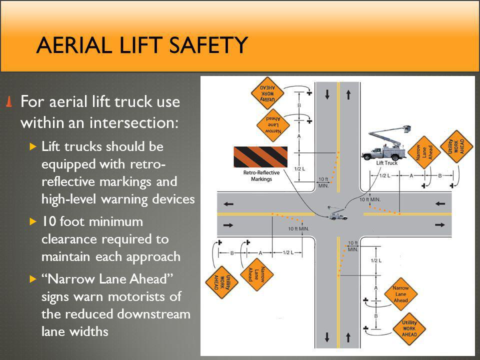 Aerial lift safety For aerial lift truck use within an intersection: