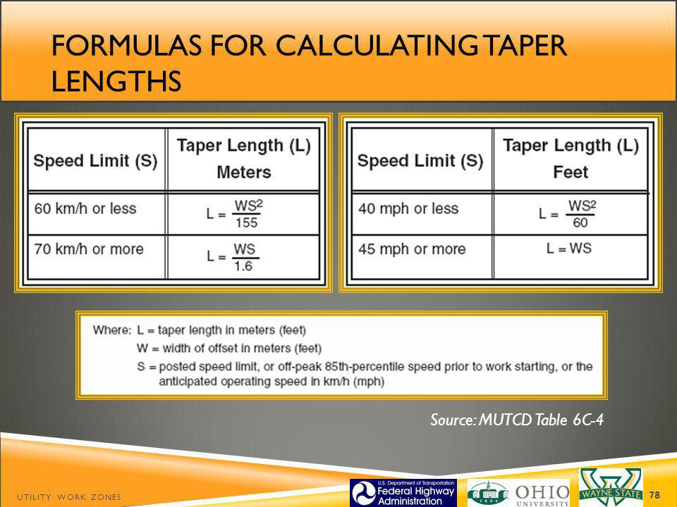 Formulas for calculating taper lengths