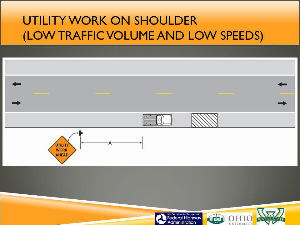 Utility work on shoulder (low traffic volume and low speeds)