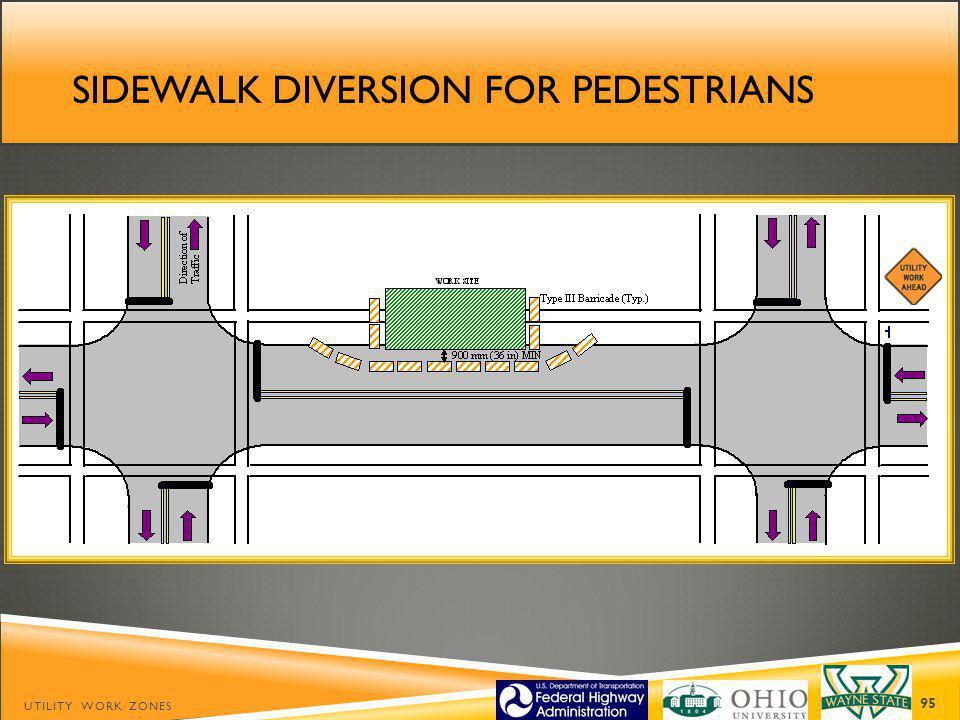 Sidewalk diversion for pedestrians