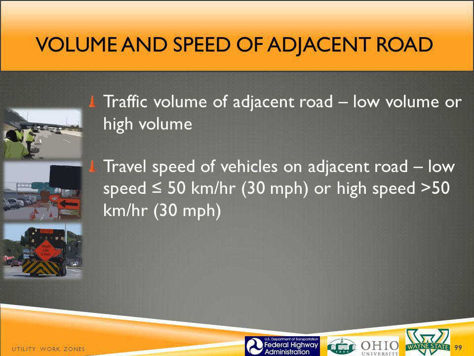Volume and speed of adjacent road