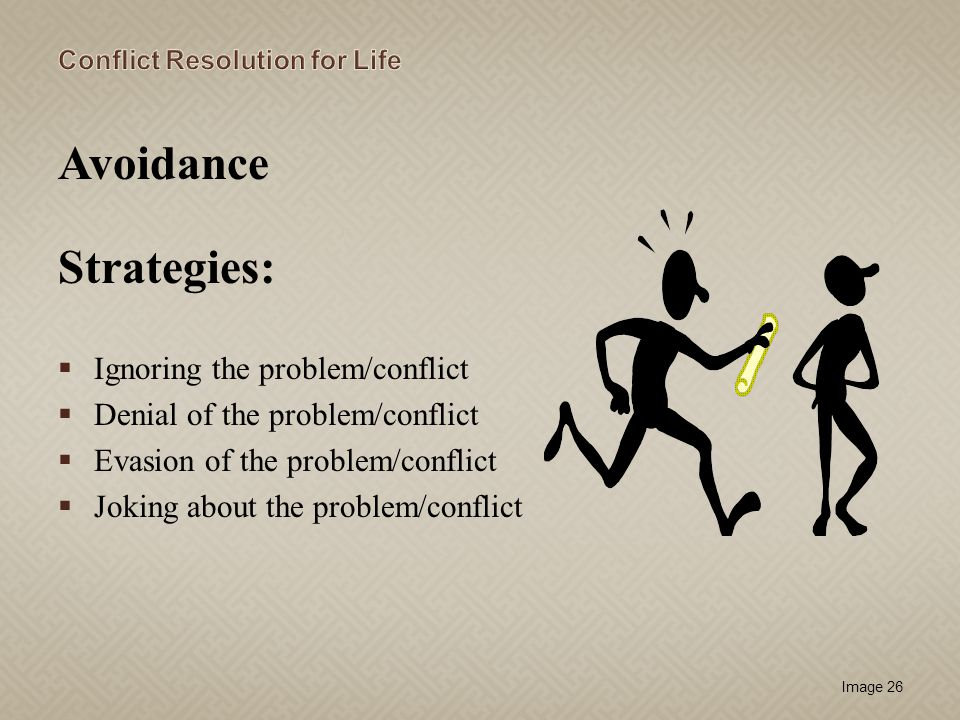Avoidance Strategies: Ignoring the problem/conflict
