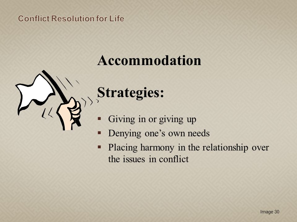Accommodation Strategies: Giving in or giving up