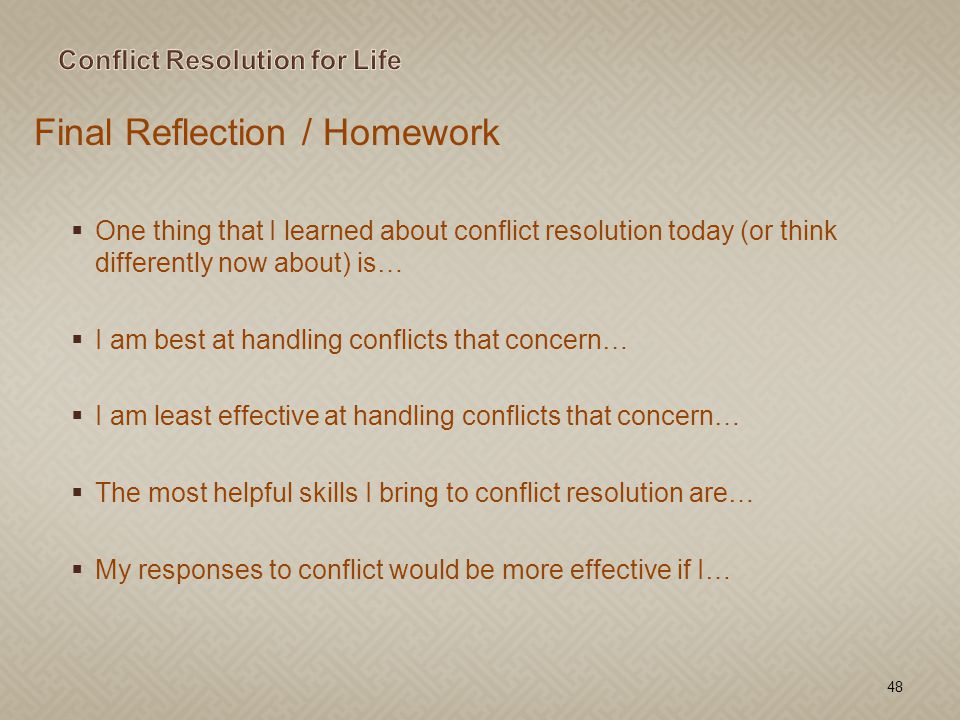 Conflict Resolution for Life