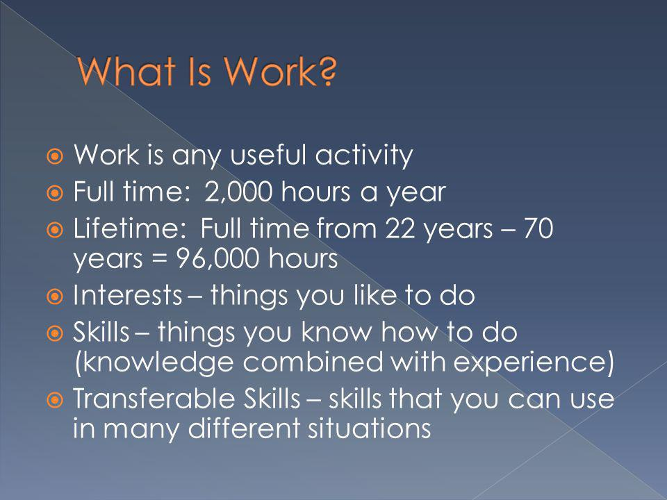 What Is Work Work is any useful activity