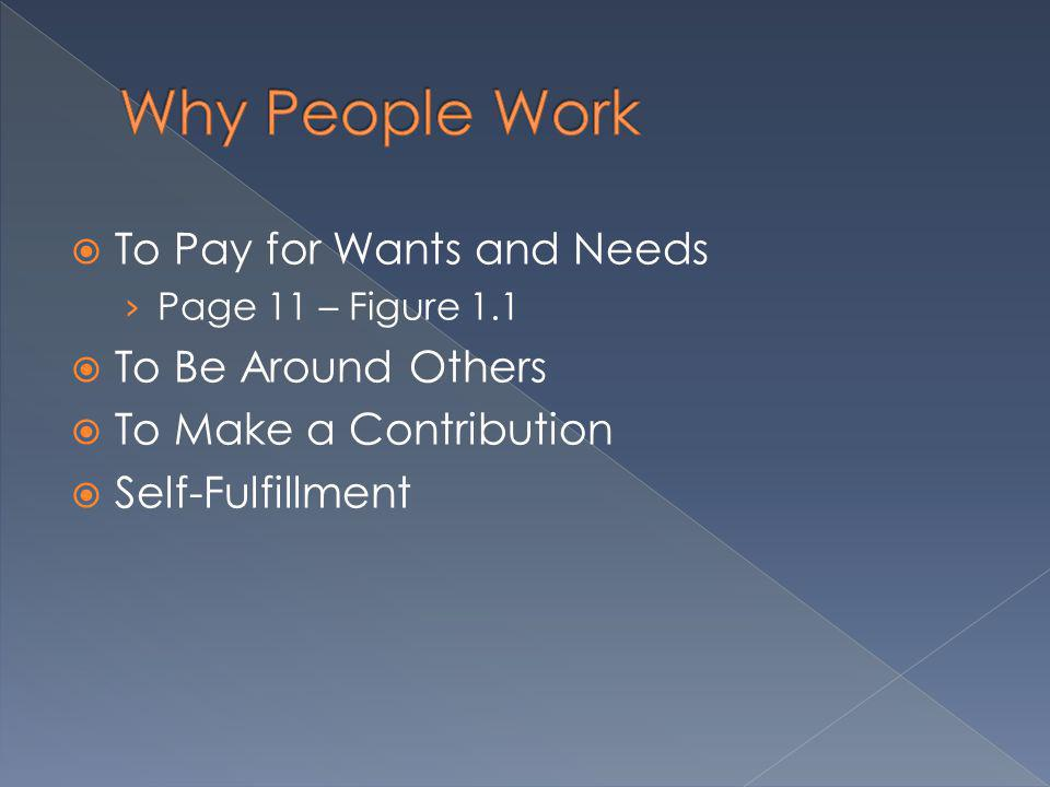 Why People Work To Pay for Wants and Needs To Be Around Others