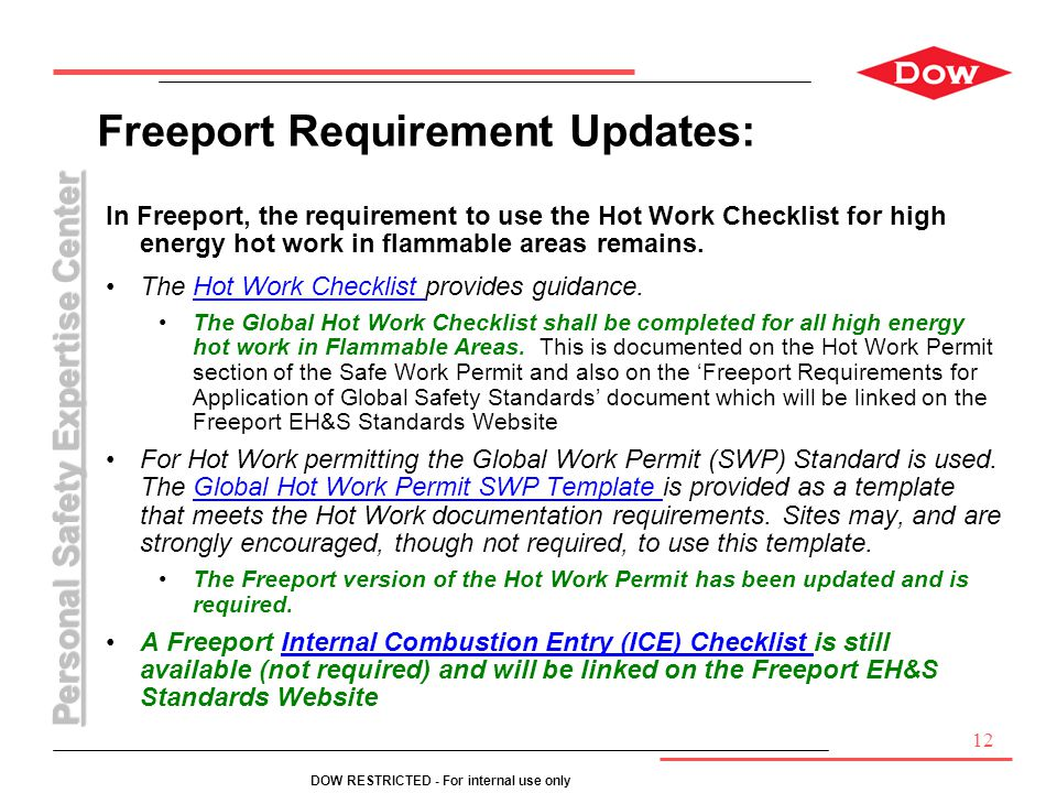 Freeport Requirement Updates:
