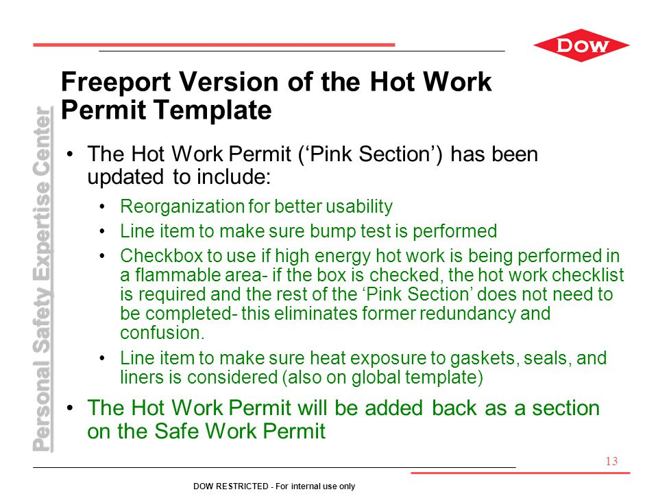 Freeport Version of the Hot Work Permit Template
