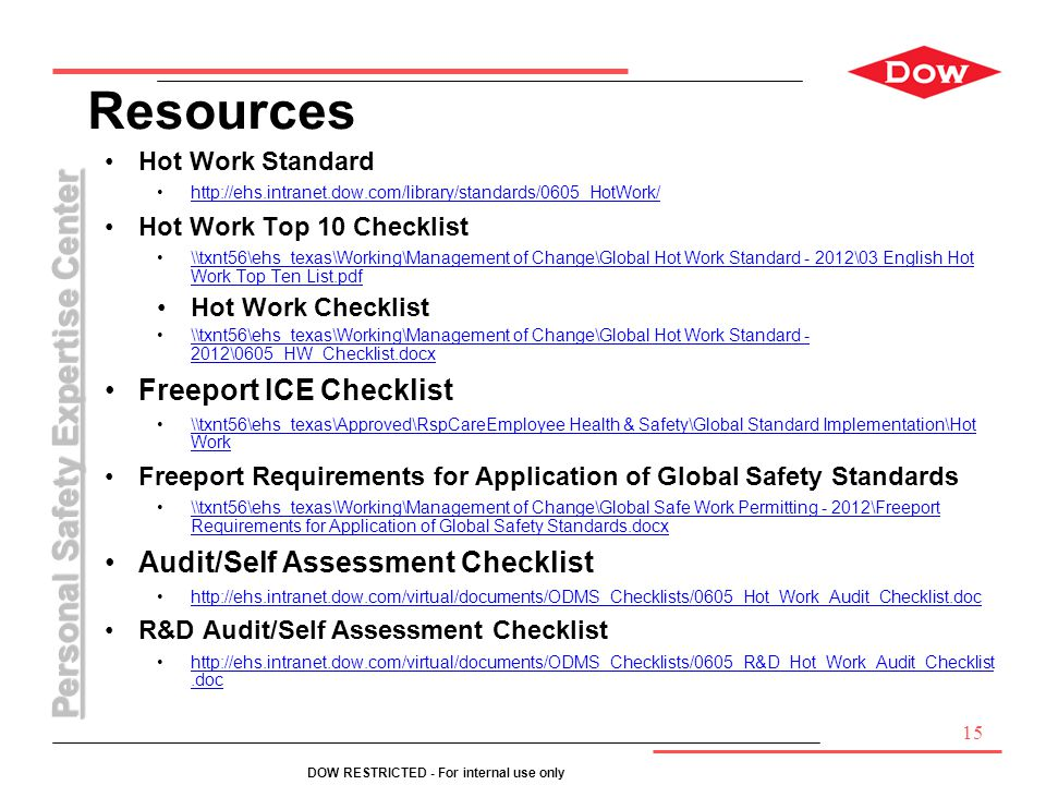 Resources Freeport ICE Checklist Audit/Self Assessment Checklist
