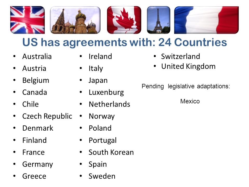 US has agreements with: 24 Countries