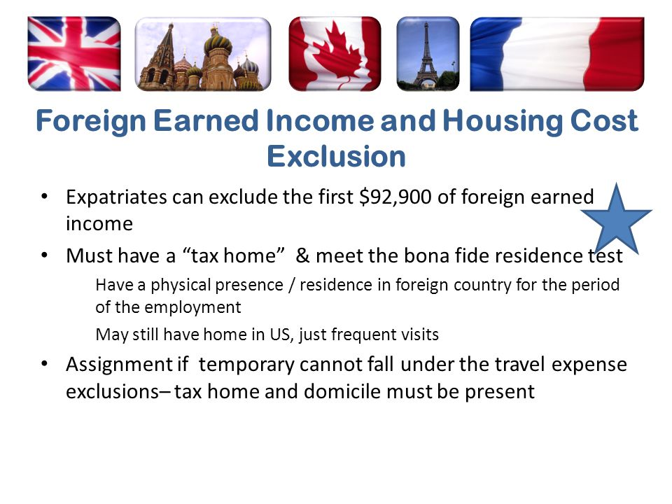 Foreign Earned Income and Housing Cost Exclusion