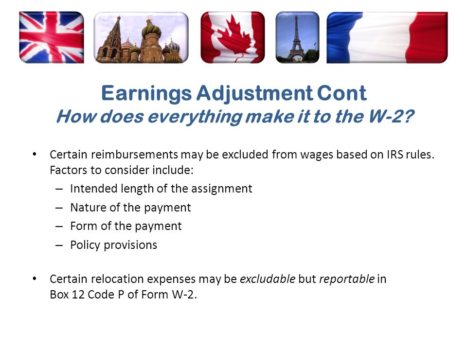 Earnings Adjustment Cont How does everything make it to the W-2