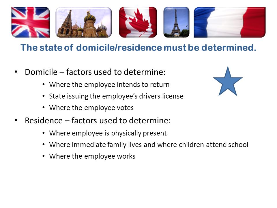 The state of domicile/residence must be determined.