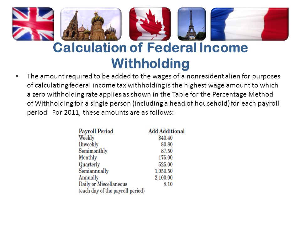 Calculation of Federal Income Withholding