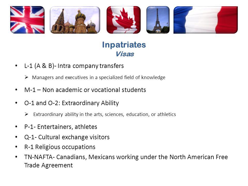 Inpatriates Visas L-1 (A & B)- Intra company transfers