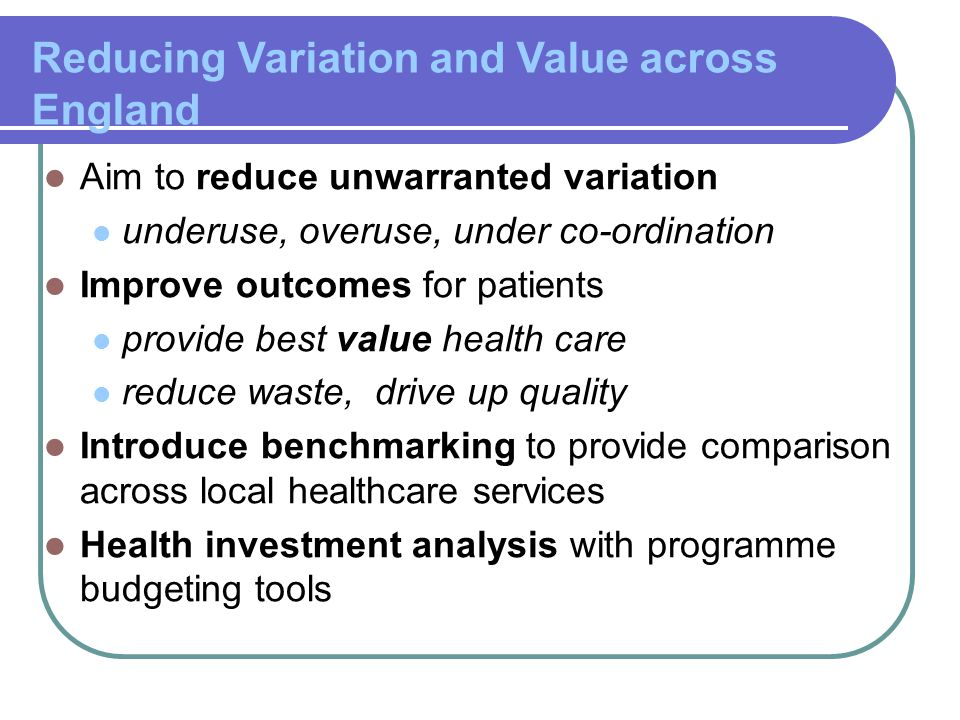 Reducing Variation and Value across England