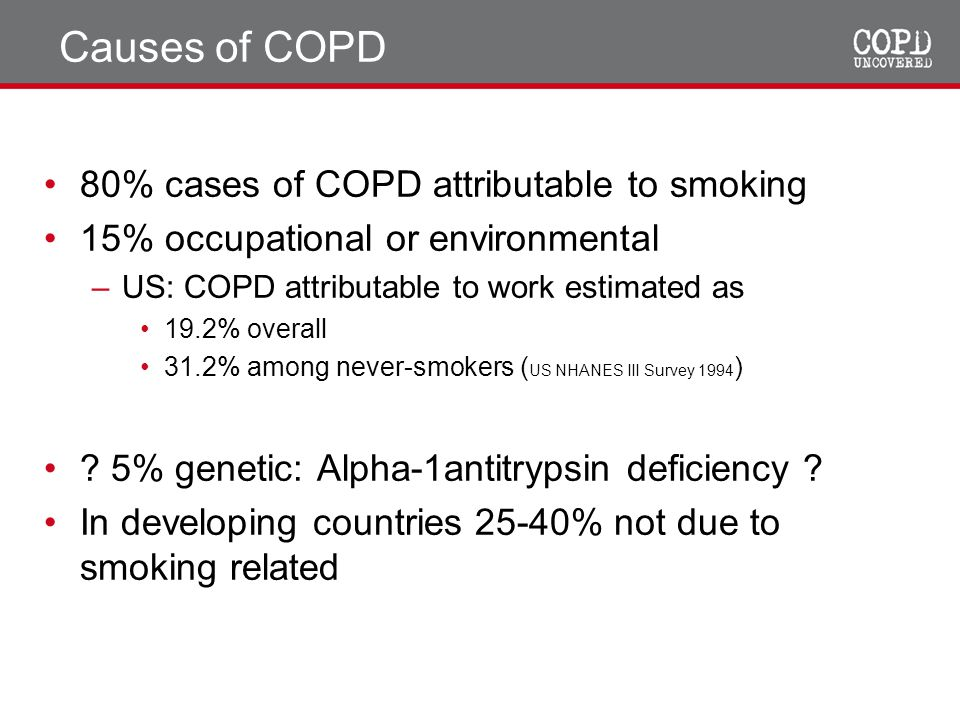 Causes of COPD 80% cases of COPD attributable to smoking