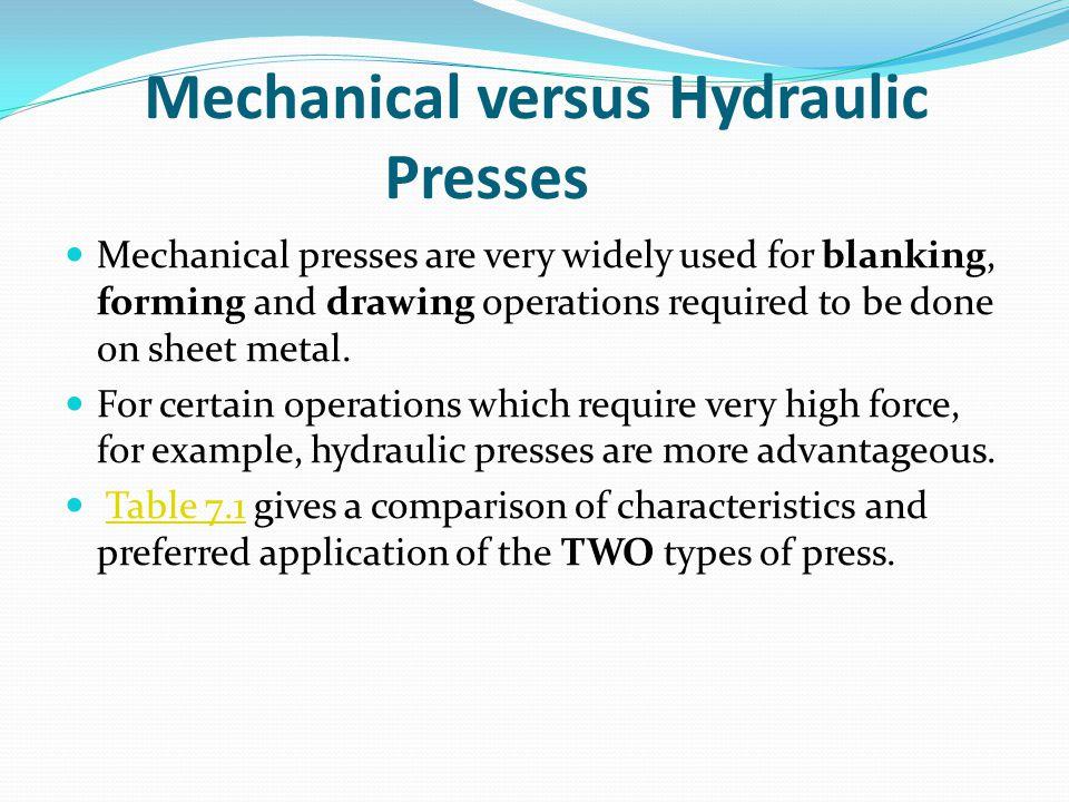 Mechanical versus Hydraulic Presses