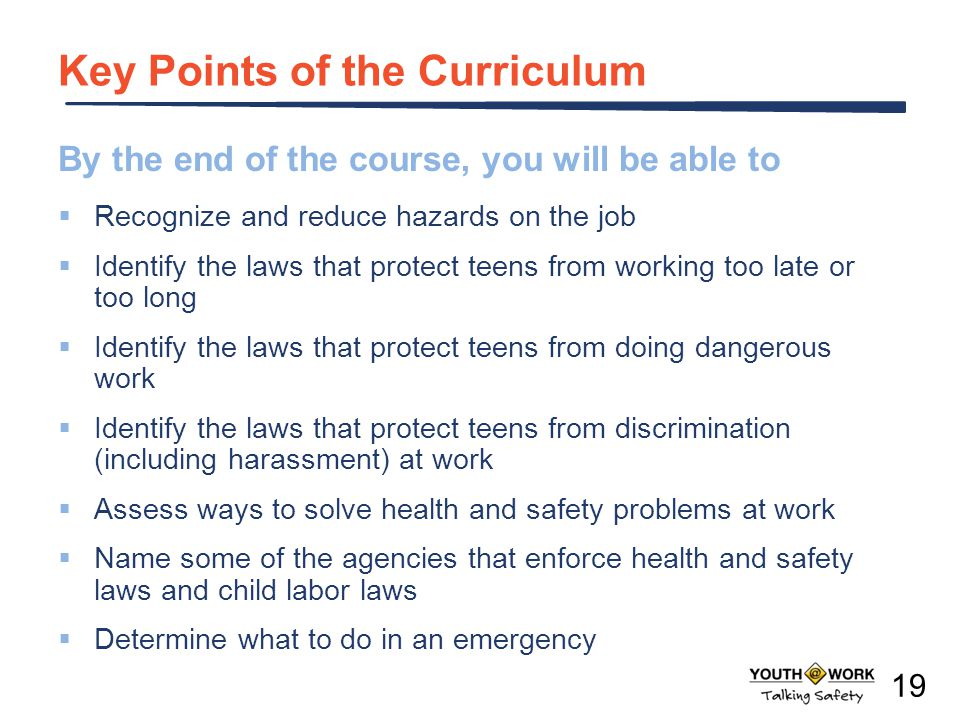 Key Points of the Curriculum