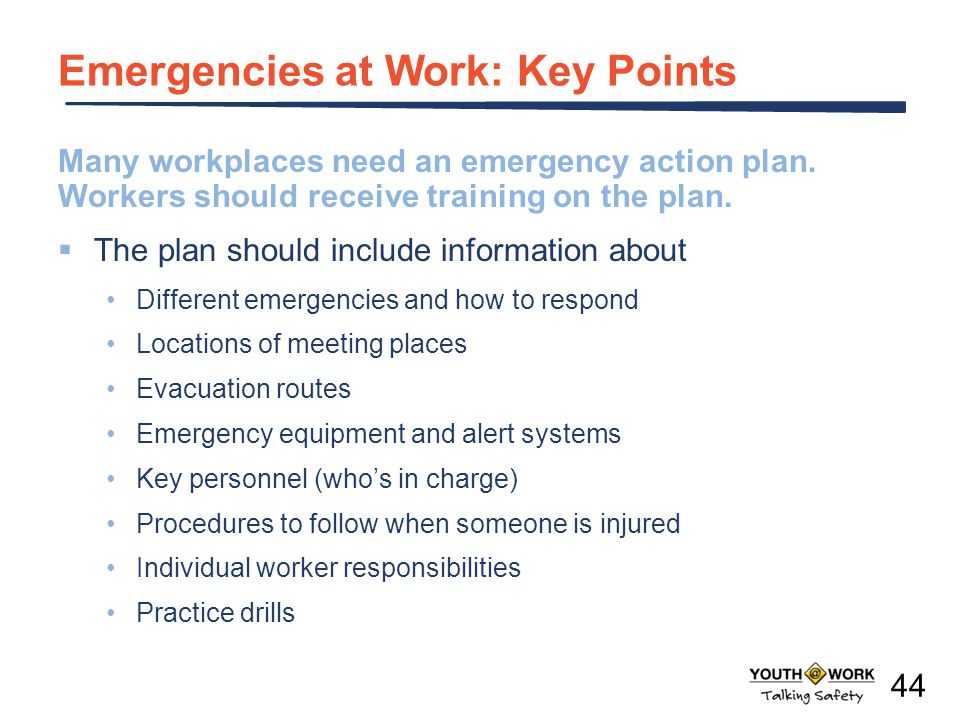 Emergencies at Work: Key Points