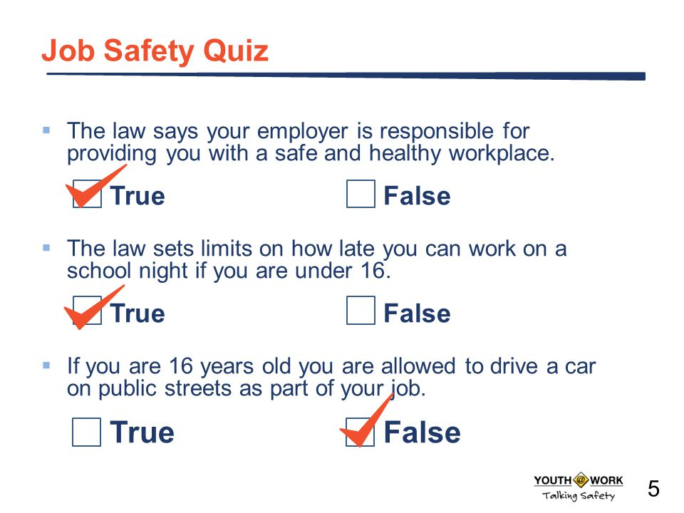 Job Safety Quiz True False