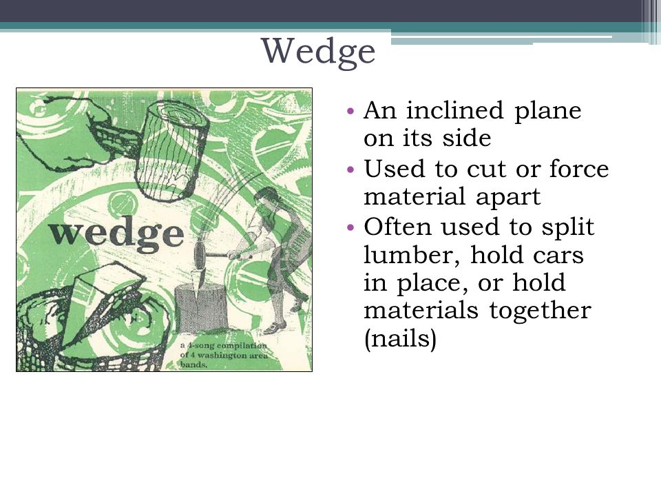 Wedge An inclined plane on its side