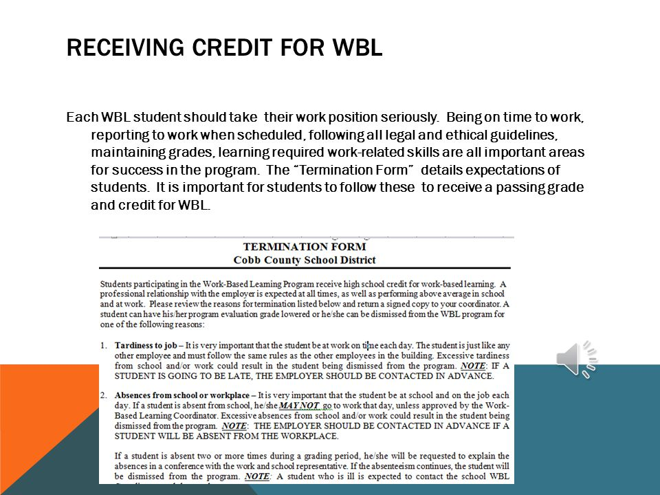 Receiving Credit For WBL