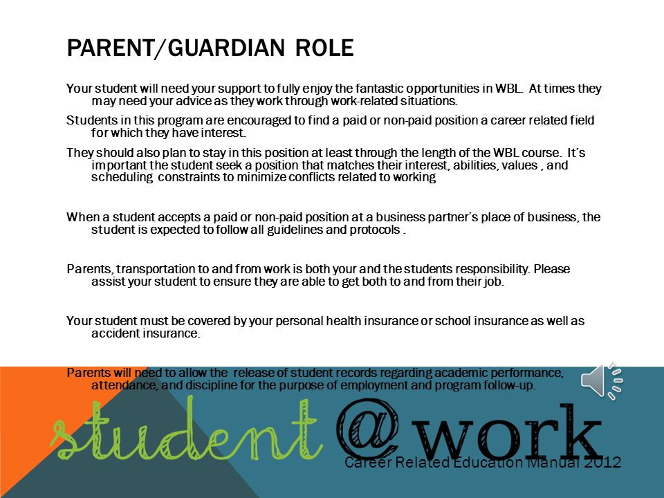 Parent/Guardian Role Career Related Education Manual 2012
