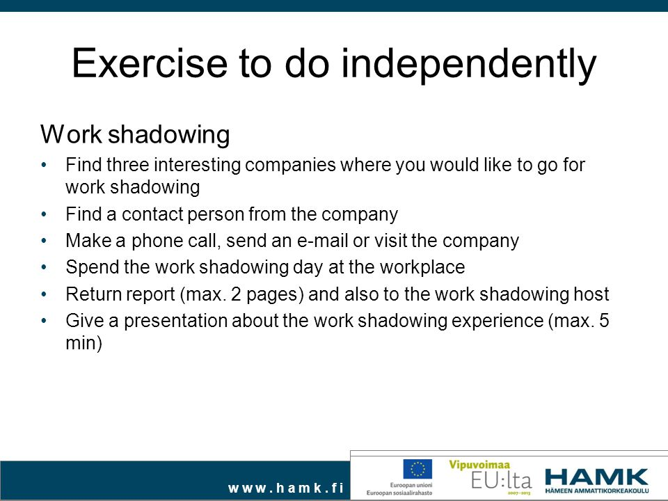Exercise to do independently