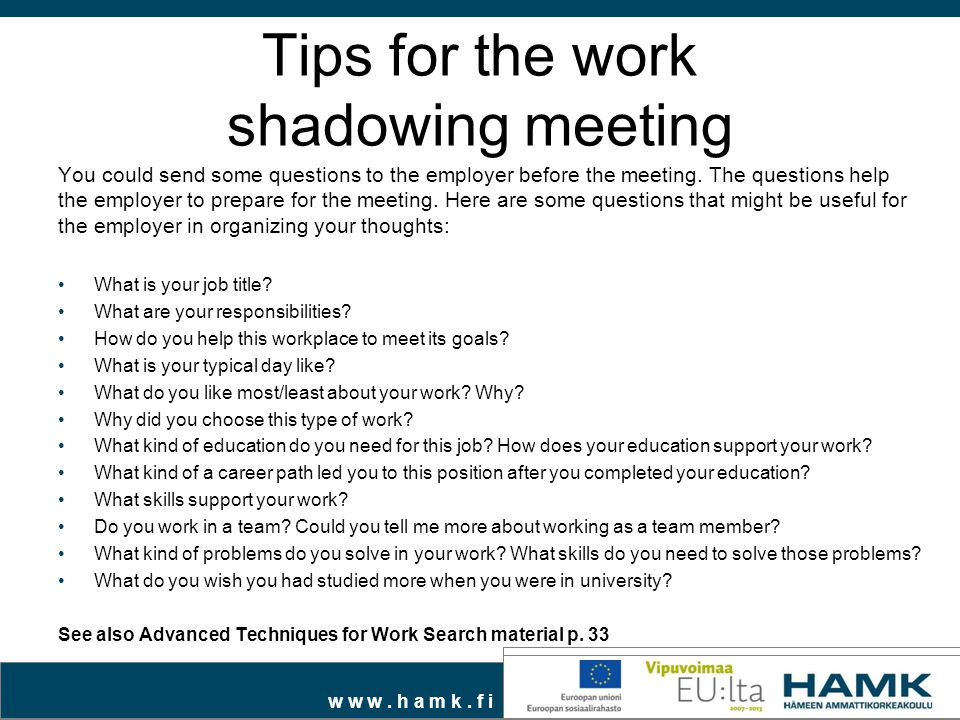 Tips for the work shadowing meeting
