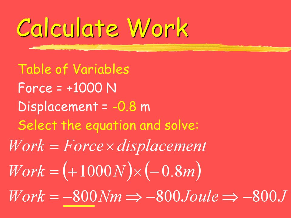 Calculate Work Table of Variables Force = +1000 N