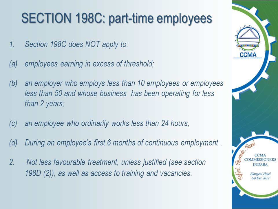 SECTION 198C: part-time employees