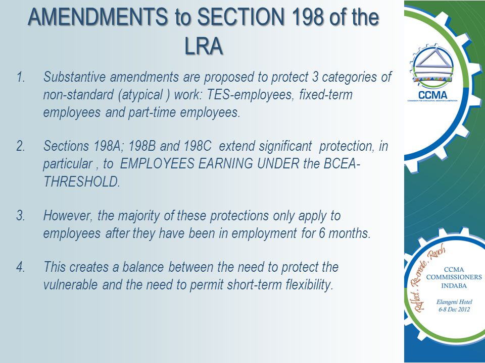 AMENDMENTS to SECTION 198 of the LRA
