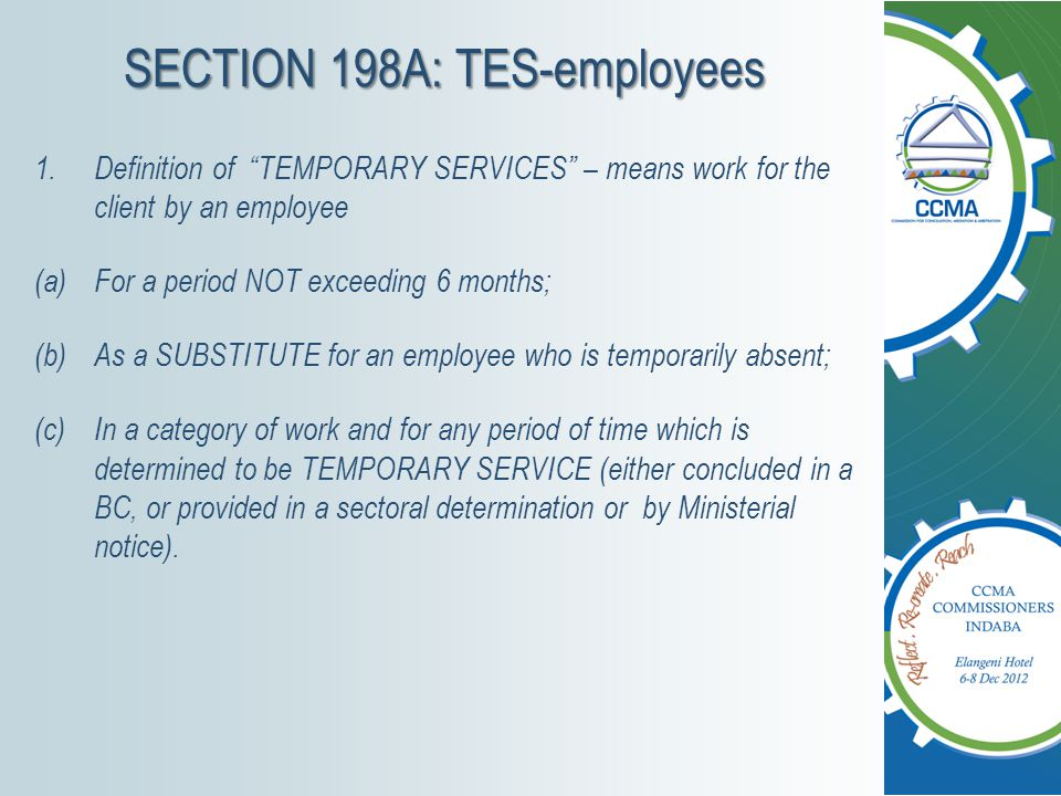 SECTION 198A: TES-employees