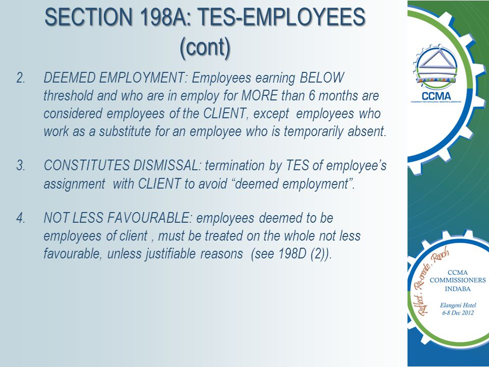 SECTION 198A: TES-EMPLOYEES (cont)