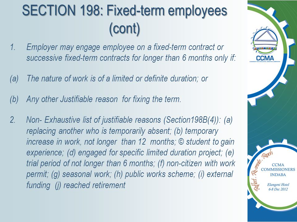 SECTION 198: Fixed-term employees (cont)
