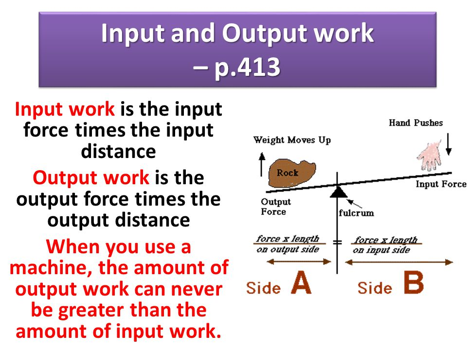 Input and Output work – p.413