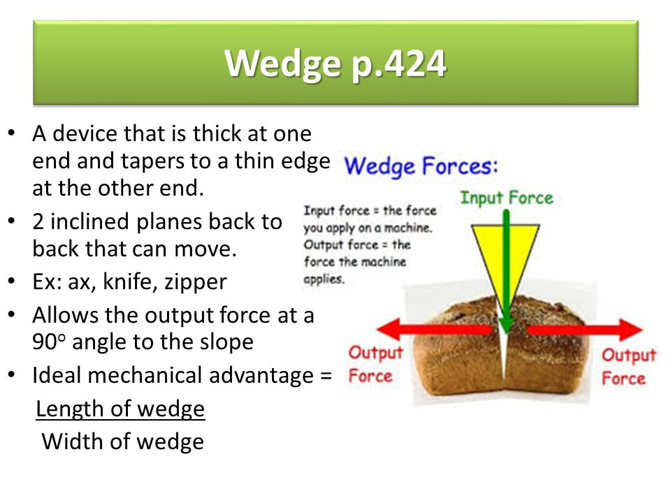 Wedge p.424 A device that is thick at one end and tapers to a thin edge at the other end. 2 inclined planes back to back that can move.
