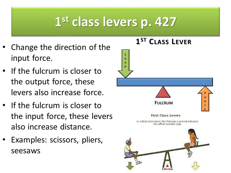 1st class levers p. 427 Change the direction of the input force.