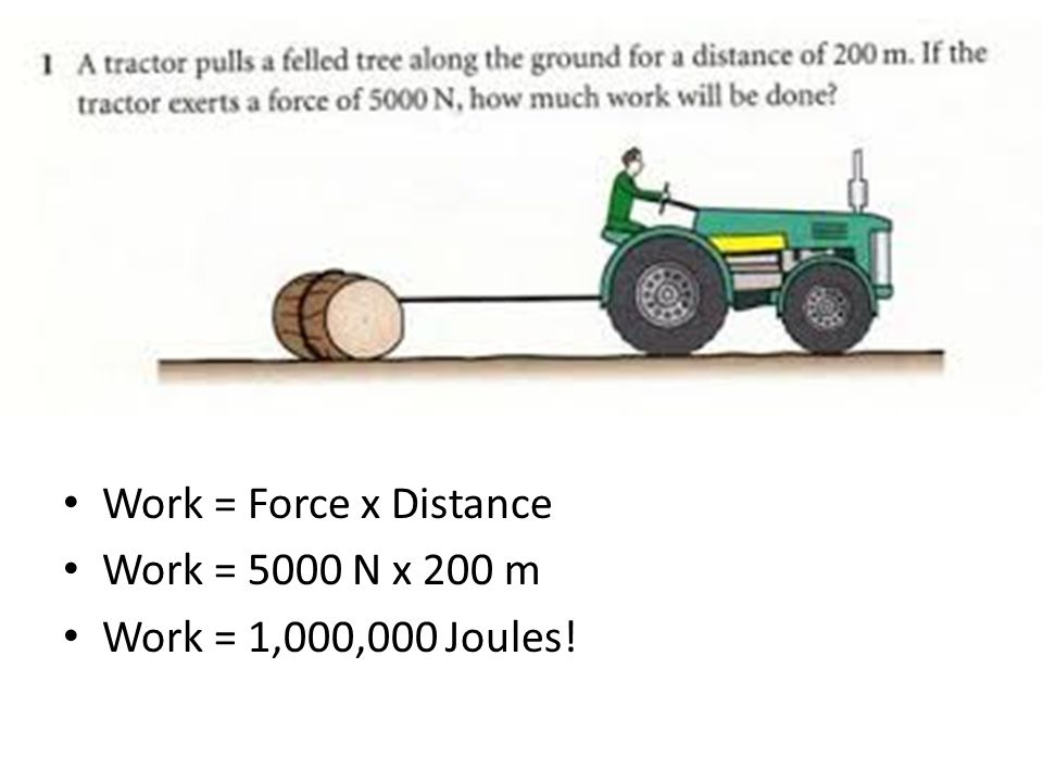 Work = Force x Distance Work = 5000 N x 200 m Work = 1,000,000 Joules!