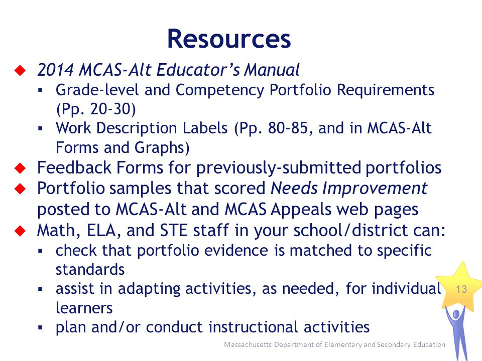 Resources 2014 MCAS-Alt Educator's Manual