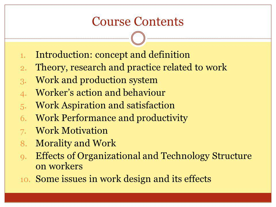 Course Contents Introduction: concept and definition