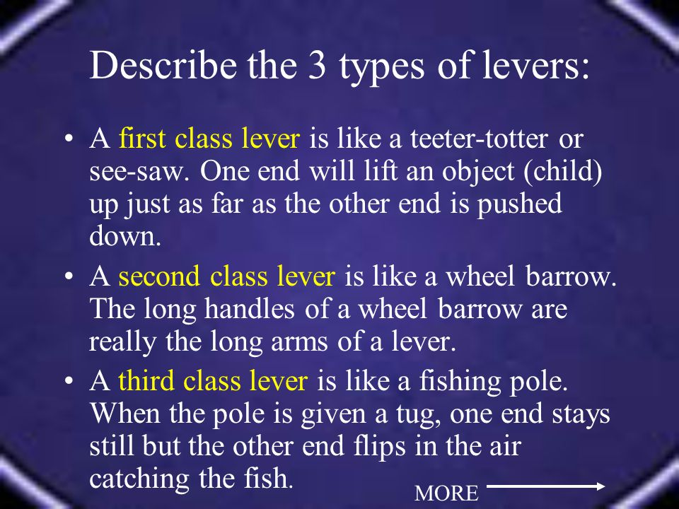 Describe the 3 types of levers: