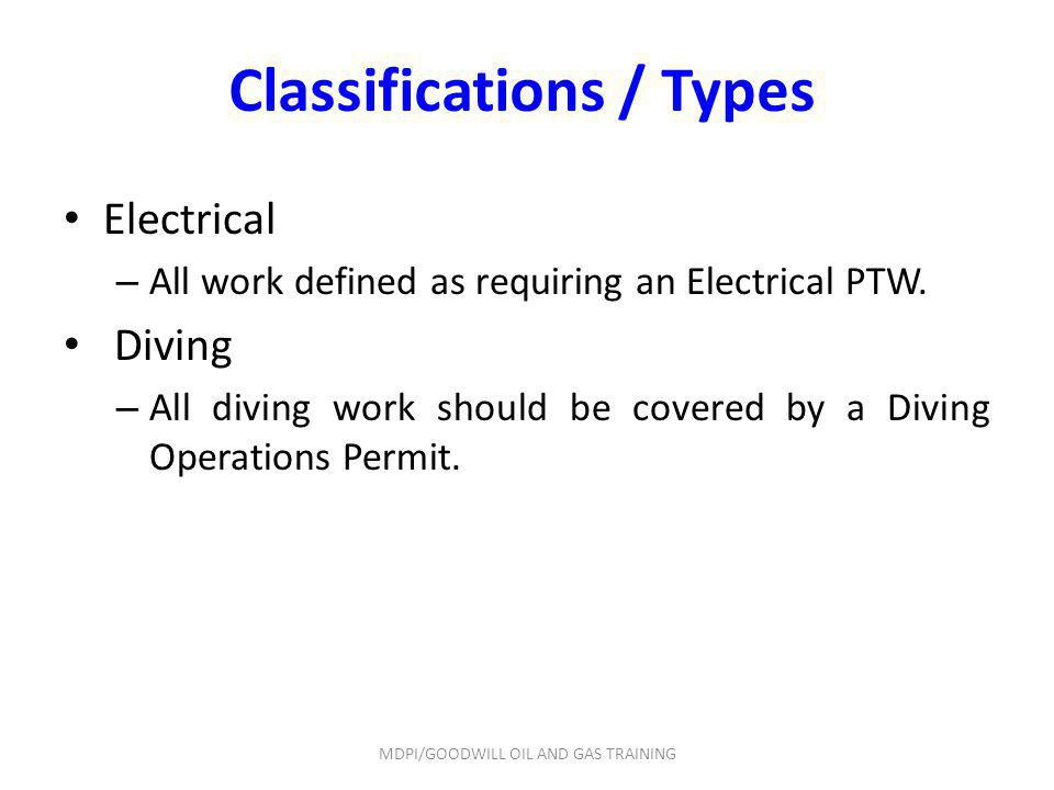 Classifications / Types