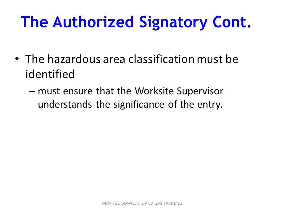 The Authorized Signatory Cont.