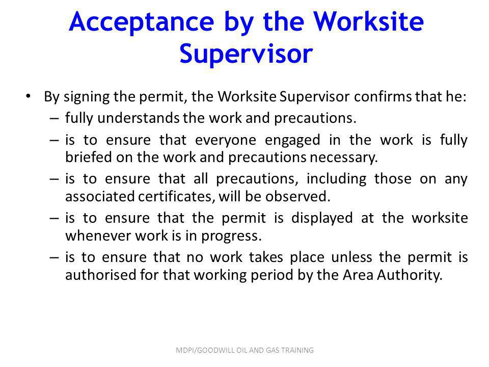 Acceptance by the Worksite Supervisor
