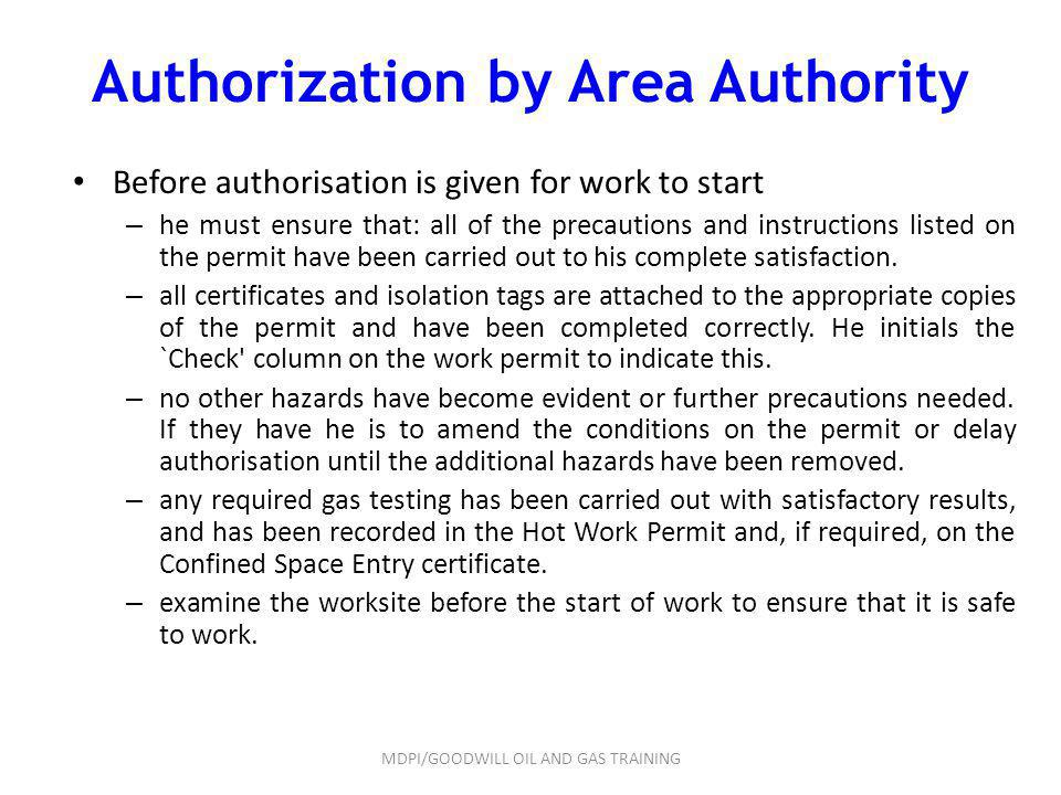 Authorization by Area Authority