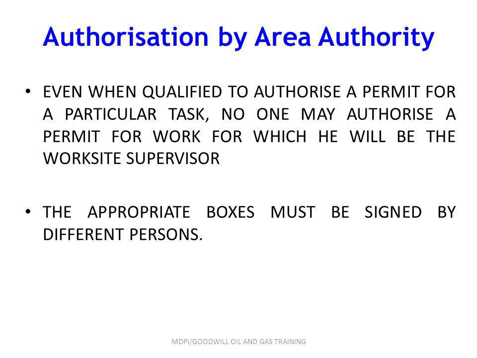 Authorisation by Area Authority